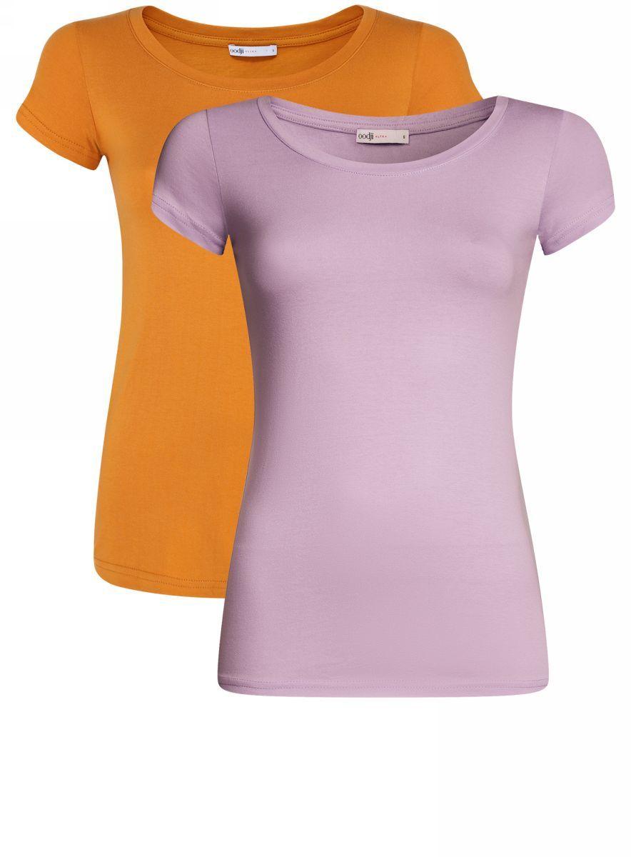 Футболка женская oodji Ultra, цвет: сиреневый, темно-оранжевый, 2 шт. 14701008T2/46154/8059N. Размер S (44)14701008T2/46154/8059NЖенская приталенная футболка выполнена из хлопка. Модель с круглым вырезом горловины и стандартными короткими рукавами. В комплект входят 2 футболки.