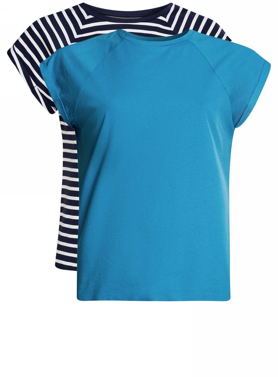 Футболка женская oodji Ultra, цвет: темно-синий, ярко-синий, 2 шт. 14707001-4T2/46154/7975N. Размер XS (42)14707001-4T2/46154/7975NБазовая футболка свободного кроя с короткими рукавами-реглан и круглым вырезом горловины выполнена из натурального хлопка. В комплект входит две футболки.