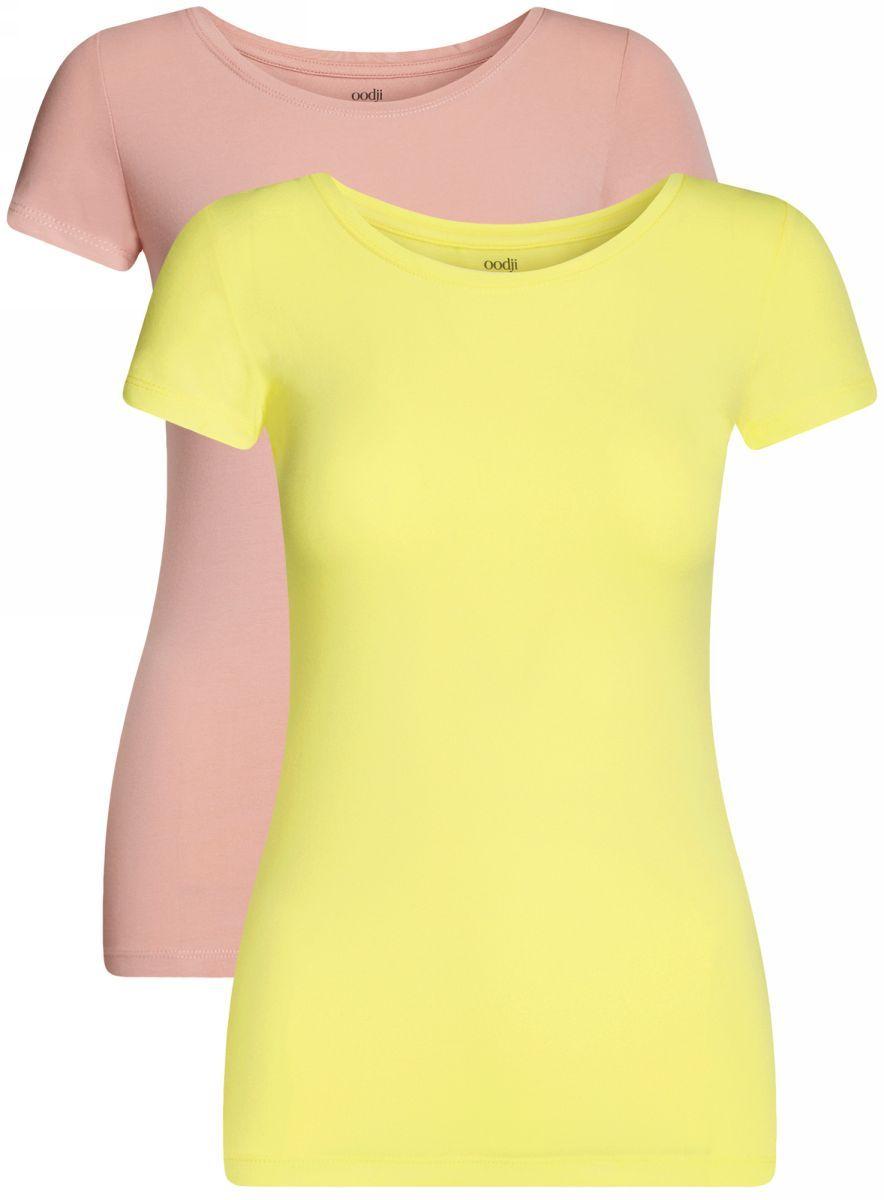 Футболка женская oodji Ultra, цвет: желтый, карамельный, 2 шт. 14701005-7T2/46147/674BN. Размер XXS (40)14701005-7T2/46147/674BNБазовая футболка с круглым вырезом горловины и короткими рукавами выполнена из эластичного хлопка.В комплект входит две футболки.