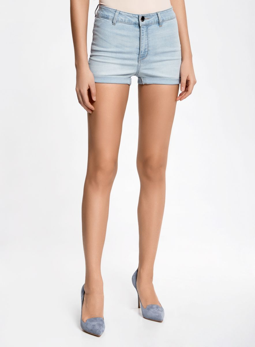 Шорты женские oodji Ultra, цвет: голубой джинс. 12807076-1B/45877/7000W. Размер 27 (44)12807076-1B/45877/7000WШорты джинсовые базовые с высокой посадкой