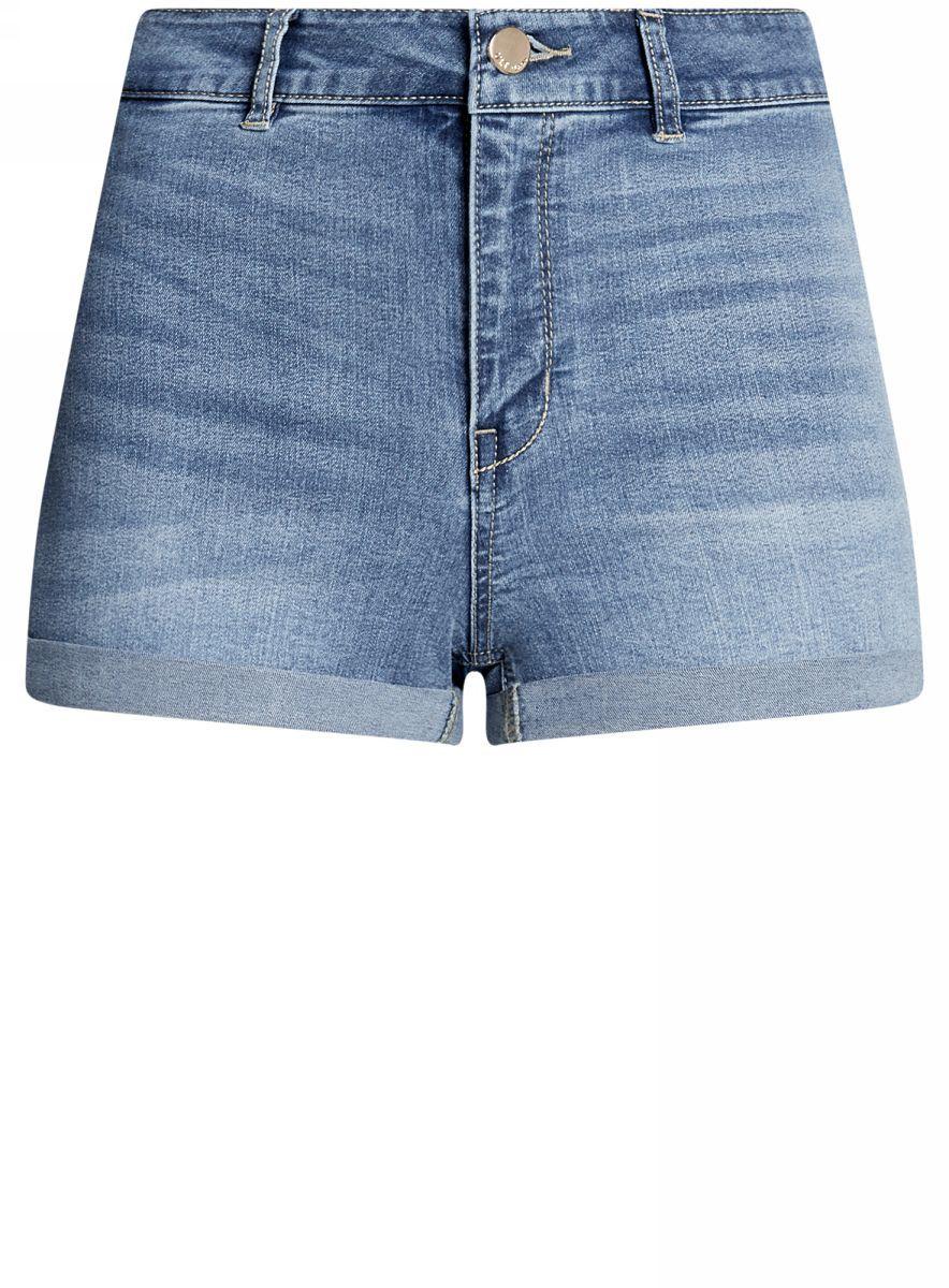 Шорты женские oodji Ultra, цвет: синий джинс. 12807076-1B/45877/7500W. Размер 26 (42)12807076-1B/45877/7500WШорты джинсовые базовые с высокой посадкой