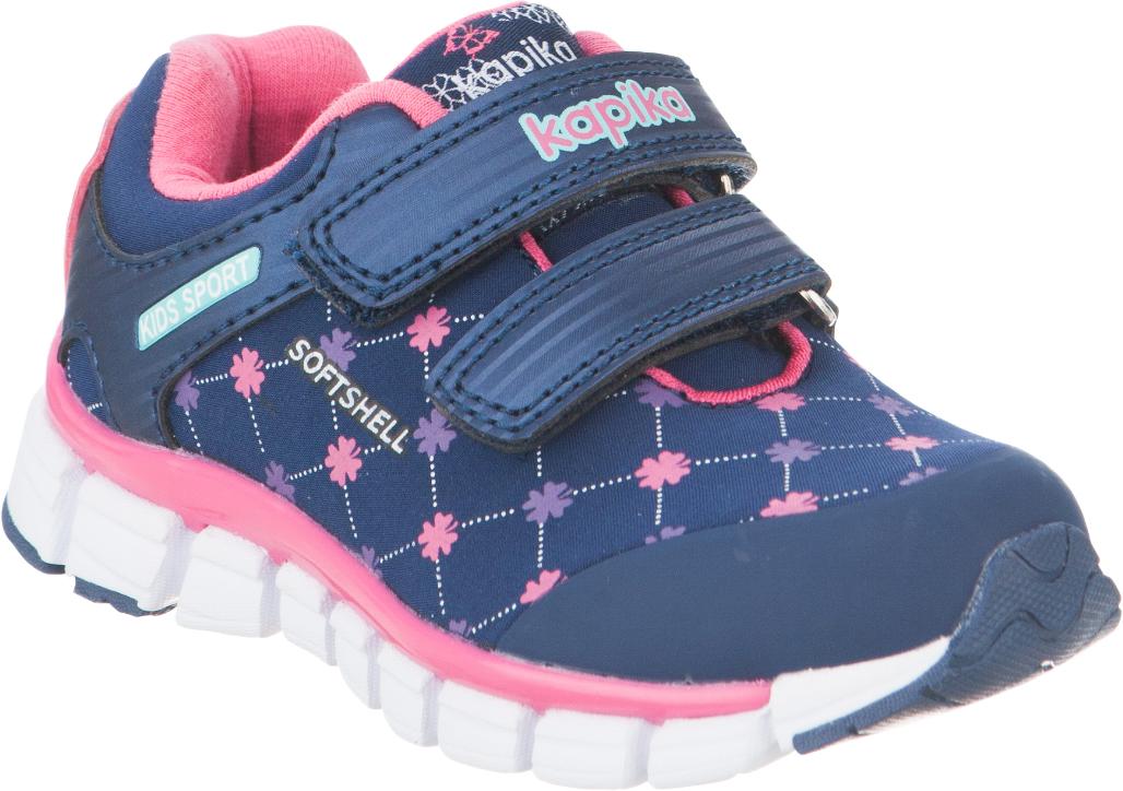 Кроссовки для девочки Kapika, цвет: темно-синий. 71080с-1. Размер 2371080с-1Удобные и стильные кроссовки для девочки Kapika прекрасно подойдут вашему ребенку для активного отдыха и повседневной носки. Верх модели выполнен из искусственной кожи и текстиля. Стелька изготовлена из натуральной кожи, благодаря чему обувь дышит, что обеспечивает идеальный микроклимат. Подкладка из хлопка обеспечивает дополнительный комфорт для детской ножки. Для удобства обувания и надежной фиксации стопы на подъеме имеются два ремешка на липучках. Рельефная подошва не скользит и обеспечивает хорошее сцепление с поверхностью. Кроссовки оформлены принтом и логотипом бренда. В них ногам вашего ребенка,будет комфортно и уютно!