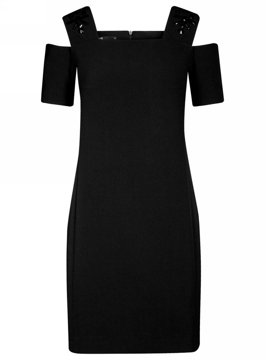 Платье oodji Ultra, цвет: черный. 11900228-1/42314/2900N. Размер 38-170 (44-170)11900228-1/42314/2900NОригинальное платье oodji Ultra выполнено из качественного эластичного материала и оформлено декоративными элементами на плечах. Приталенная модель мини-длины с открытыми плечами застегивается на скрытую молнию на спинке.