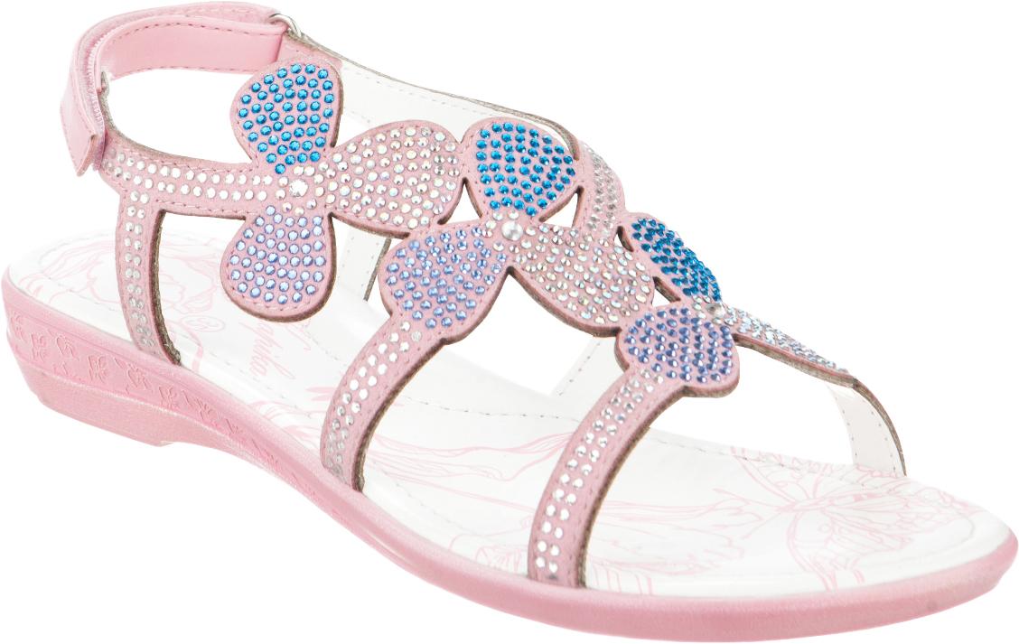 Сандалии для девочки Kapika, цвет: розовый. 34049оп-2. Размер 3834049оп-2Модные сандалии для девочки от Kapika выполнены из искусственной кожи и оформлены стразами. Ремешок с застежкой-липучкой надежно зафиксирует модель на ноге. Внутренняя поверхность и стелька из натуральной кожи обеспечат комфорт при движении. Стелька оснащена супинатором. Подошва дополнена рифлением.