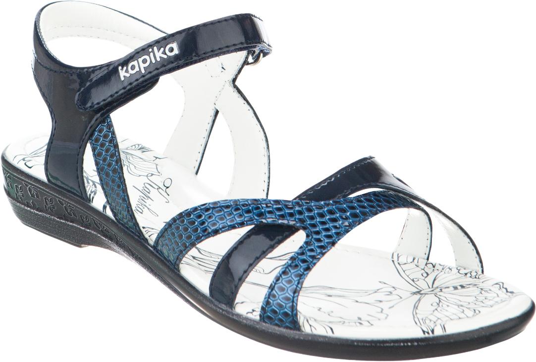 Сандалии для девочки Kapika, цвет: темно-синий. 34047оп-1. Размер 3434047оп-1Модные сандалии для девочки от Kapika выполнены из искусственной кожи. Ремешок с застежкой-липучкой надежно зафиксирует модель на ноге. Внутренняя поверхность из искусственной кожи и стелька из натуральной кожи обеспечат комфорт при движении. Подошва дополнена рифлением.