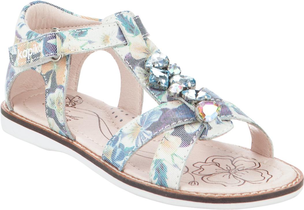 Сандалии для девочки Kapika, цвет: мультиколор. 33301-1. Размер 3233301-1Модные сандалии для девочки от Kapika выполнены из натуральной кожи. Внутренняя поверхность и стелька из натуральной кожи обеспечат комфорт при движении. Ремешок с застежкой-липучкой надежно зафиксирует модель на ноге. Подошва дополнена рифлением.
