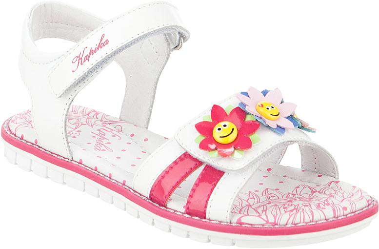 Сандалии для девочки Kapika, цвет: белый, фуксия. 33296к-1. Размер 3233296к-1Модные сандалии для девочки от Kapika выполнены из натуральной и искусственной кожи. Внутренняя поверхность и стелька из натуральной кожи обеспечат комфорт при движении. Ремешки с застежками-липучками надежно зафиксируют модель на ноге. Подошва дополнена рифлением.