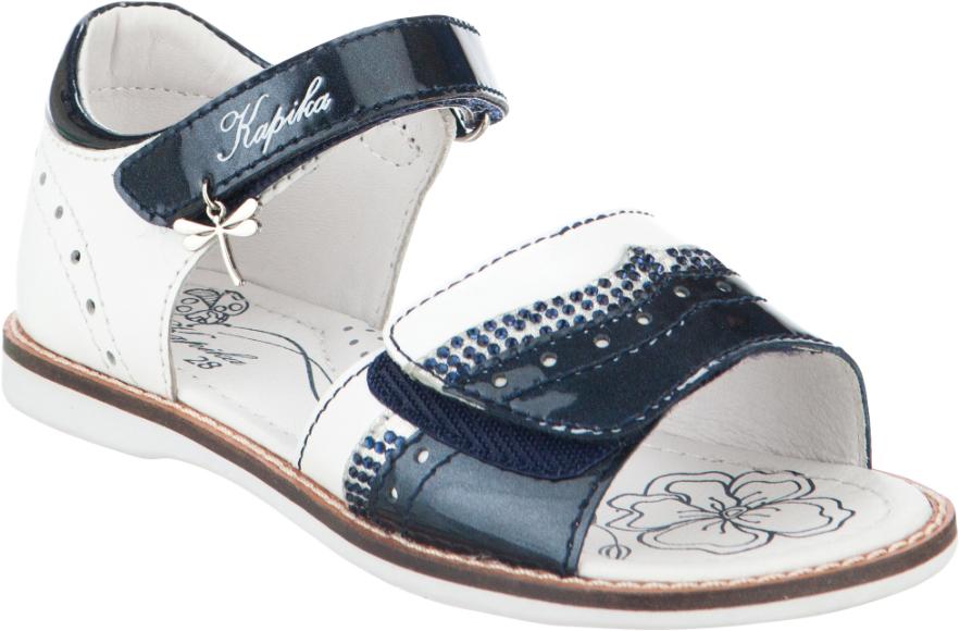 Сандалии для девочки Kapika, цвет: белый, темно-синий. 33290-2. Размер 3033290-2Модные сандалии для девочки от Kapika, выполненные из натуральной кожи, оформлены стразами и перфорацией. Внутренняя поверхность и стелька из натуральной кожи обеспечат комфорт при движении. Ремешки с застежками-липучками надежно зафиксируют модель на ноге. Подошва дополнена рифлением.
