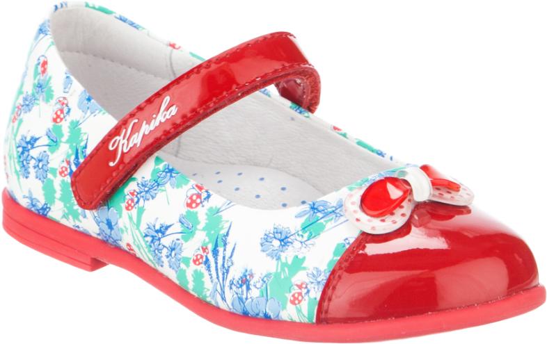 Туфли для девочки Kapika, цвет: белый, красный, голубой. 22400к-2. Размер 2922400к-2Туфли для девочки от Kapika выполнены из натуральной кожи, оформленной цветочным принтом, с элементами из искусственной лаковой кожи. Модель на застежке-липучке. Подкладка и стелька с супинатором изготовлены из натуральной кожи. Подошва из ТЭП-материала оснащена рифлением.