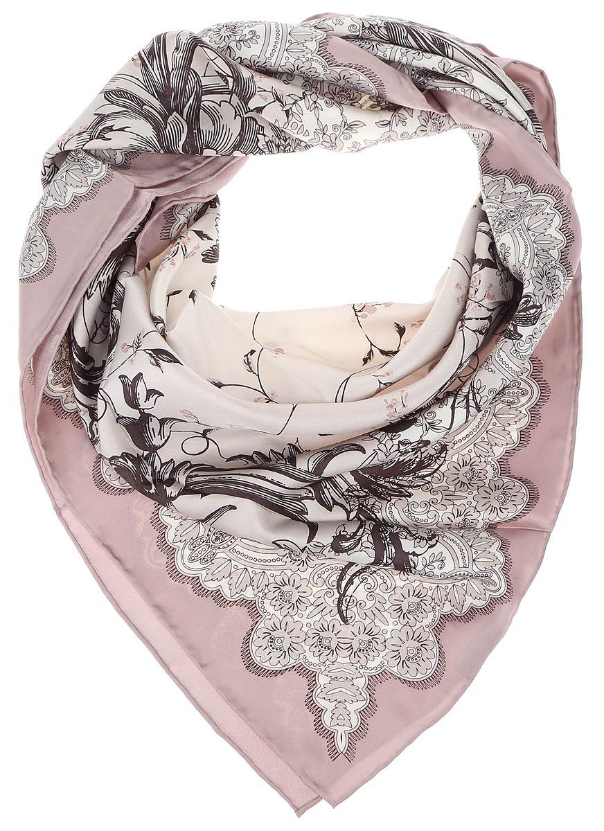 Платок женский Leo Ventoni, цвет: серый, розовый. CX1617-23-5. Размер 90 см х 90 смCX1617-23-5Изысканный женский платок Leo Ventoni выполнен из натурального шелка, который придает изделию неповторимый роскошный блеск и гладкость фактуры. Тонкая и прочная нить, создающая струящуюся ткать, подчеркнет изысканный вкус своей обладательницы.
