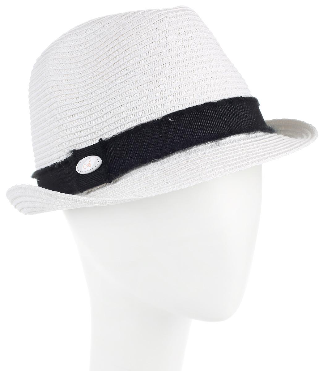 Шляпа женская Avanta, цвет: белый. 994555. Размер 55/56994555Женская шляпа Avanta изготовлена из бумажной нити с добавлением полиэстера. Модель оформлена кантом контрастного цвета и овальным декоративным элементом. Прекрасный головной убор для лета из натуральных материалов. Размер, доступный для заказа, является обхватом головы.