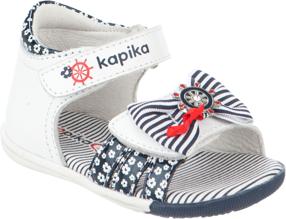 Сандалии для девочки Kapika, цвет: белый, темно-синий. 31245к-1. Размер 2131245к-1Модные сандалии для девочки от Kapika выполнены из натуральной и искусственной кожи. Ремешки с застежками-липучками надежно зафиксируют модель на ноге. Передний ремешок украшен декоративным бантиком. Внутренняя поверхность и стелька из натуральной кожи обеспечат комфорт при движении. Подошва дополнена рифлением.