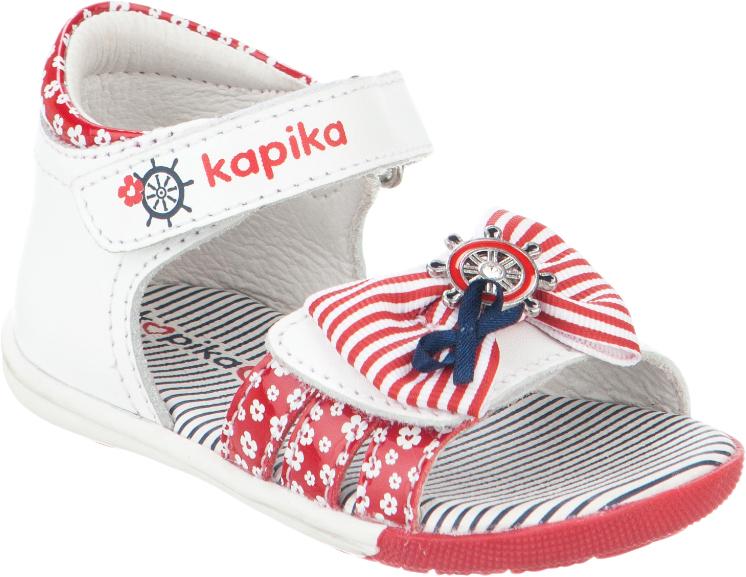 Сандалии для девочки Kapika, цвет: белый, красный. 31245к-2. Размер 2031245к-2Модные сандалии для девочки от Kapika выполнены из натуральной и искусственной кожи. Ремешки с застежками-липучками надежно зафиксируют модель на ноге. Передний ремешок украшен декоративным бантиком. Внутренняя поверхность и стелька из натуральной кожи обеспечат комфорт при движении. Подошва дополнена рифлением.