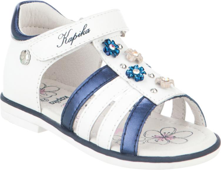 Сандалии для девочки Kapika, цвет: белый, темно-синий. 31261-2. Размер 2331261-2Модные сандалии для девочки от Kapika, выполненные из натуральной кожи, оформлены стразами и металлическими элементами. Ремешок с застежкой-липучкой надежно зафиксирует модель на ноге. Внутренняя поверхность и стелька из натуральной кожи обеспечат комфорт при движении. Подошва дополнена рифлением.