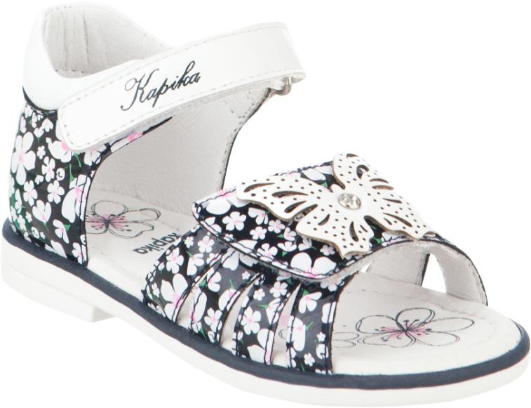 Сандалии для девочки Kapika, цвет: белый, темно-синий. 31312к-2. Размер 2231312к-2Модные сандалии для девочки от Kapika, выполненные из натуральной и искусственной кожи, оформлены цветочным принтом. Ремешки с застежками-липучками надежно зафиксируют модель на ноге. Передний ремешок оформлен декоративной бабочкой. Внутренняя поверхность и стелька из натуральной кожи обеспечат комфорт при движении. Подошва дополнена рифлением.