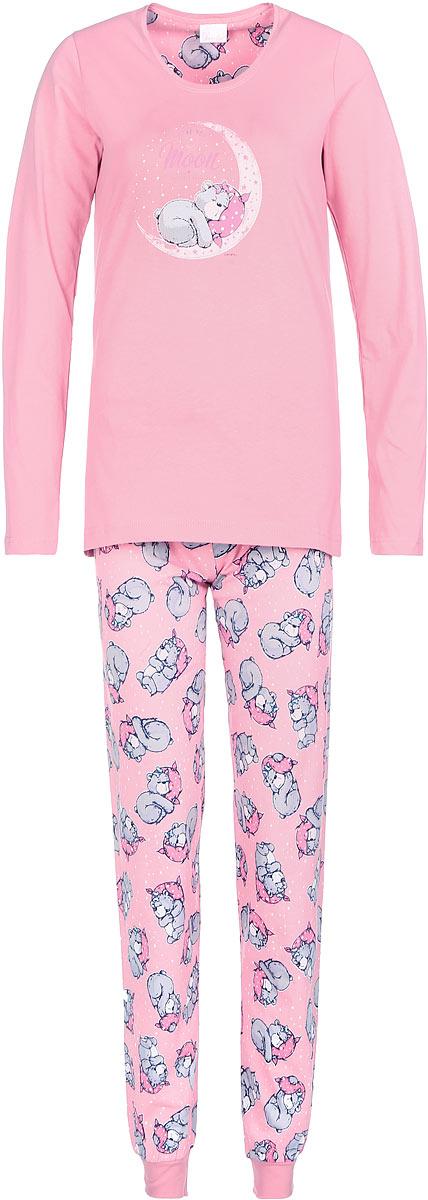 Пижама женская Vienettas Secret, цвет: розовый, светло-серый. 605140 6055. Размер L (48)605140 6055Пижама женская Vienettas Secret исполнена из 100% хлопка. Лонгслив оформлен принтом с мишкой на луне. Брюки принтованы маленькими мишками и имеют завязки на талии, а так же текстильные резинки на щиколотках.