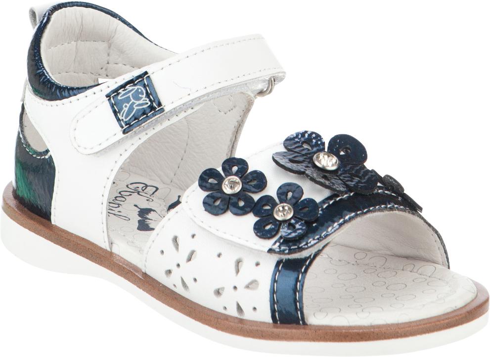 Сандалии для девочки Kapika, цвет: белый, темно-синий. 32338к-1. Размер 2532338к-1Модные сандалии для девочки от Kapika выполнены из натуральной и искусственной кожи. Ремешки с застежками-липучками надежно зафиксируют модель на ноге. Передний ремешок оформлен перфорацией и декоративными цветками со стразами. Внутренняя поверхность и стелька из натуральной кожи обеспечат комфорт при движении. Подошва дополнена рифлением.