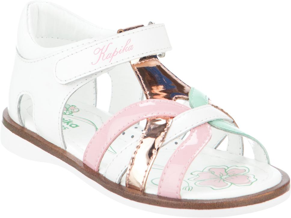 Сандалии для девочки Kapika, цвет: белый, бронзовый, розовый. 32339ок-2. Размер 2632339ок-2Модные сандалии для девочки от Kapika выполнены из натуральной и искусственной кожи. Ремешок с застежкой-липучкой надежно зафиксирует модель на ноге. Внутренняя поверхность и стелька из натуральной кожи обеспечат комфорт при движении. Подошва дополнена рифлением.