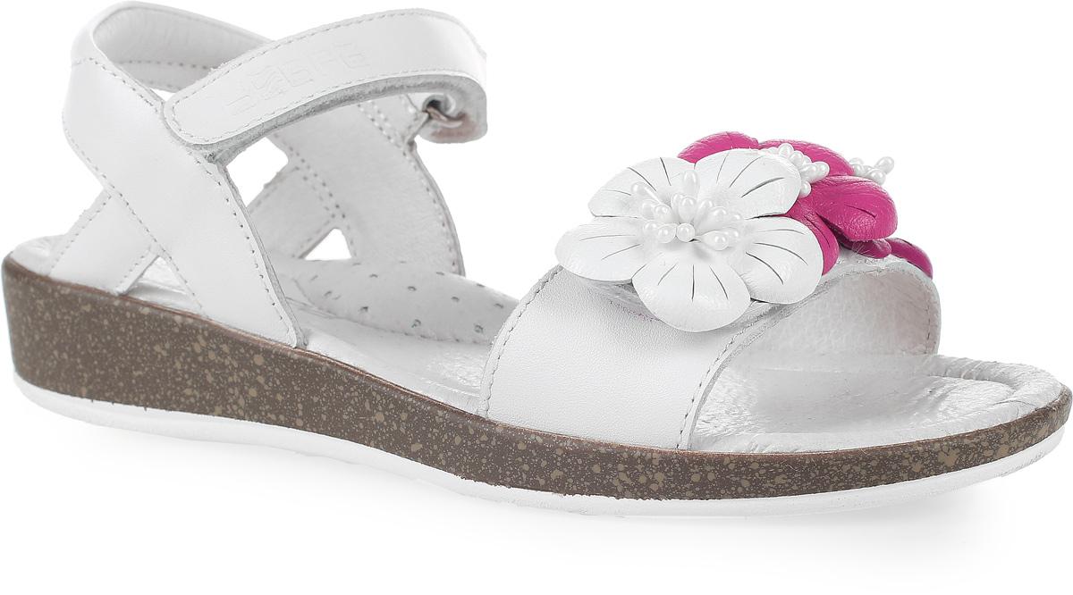Сандалии для девочки Зебра, цвет: белый. 11715-2. Размер 3511715-2Стильные сандалии от Зебра выполнены из натуральной кожи. Ремешок на липучке на щиколотке обеспечивает оптимальную посадку обуви на ноге, не давая ей смещаться из стороны в сторону и назад. На подъеме модель декорирована цветочками.