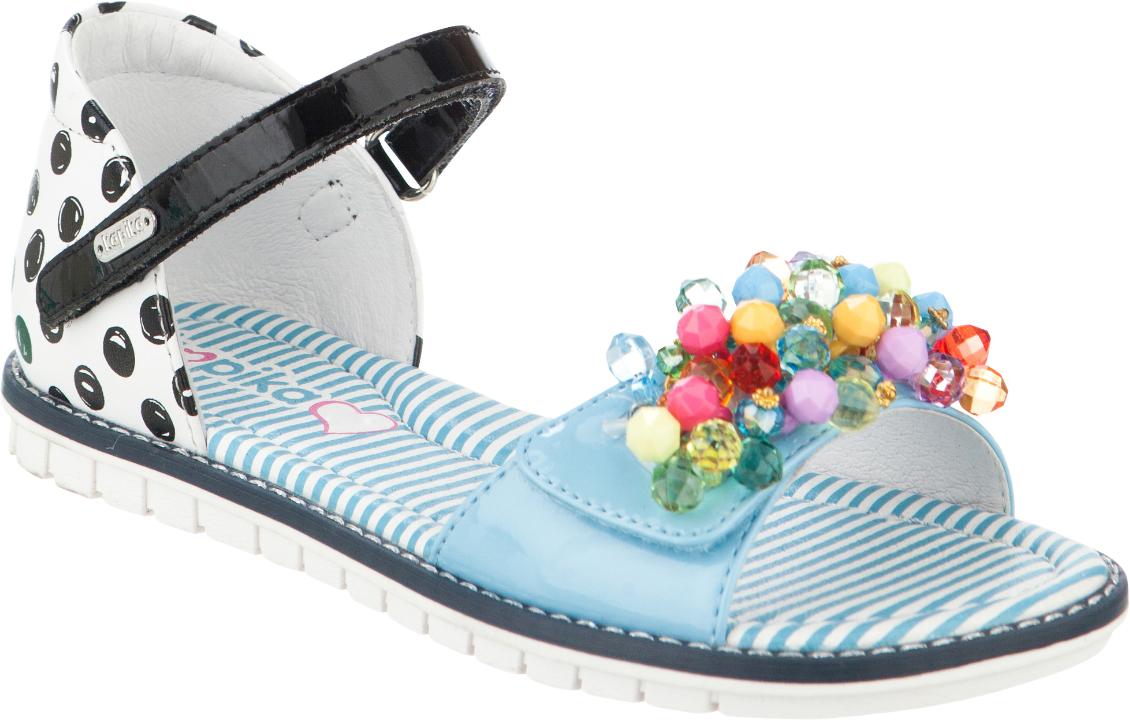 Сандалии для девочки Kapika, цвет: белый, черный, голубой. 33271к-1. Размер 3333271к-1Модные сандалии для девочки от Kapika выполнены из натуральной и искусственной кожи. Внутренняя поверхность и стелька из натуральной кожи обеспечат комфорт при движении. Ремешки с застежками-липучками надежно зафиксируют модель на ноге. Передний ремешок оформлен бусинами. Подошва дополнена рифлением.