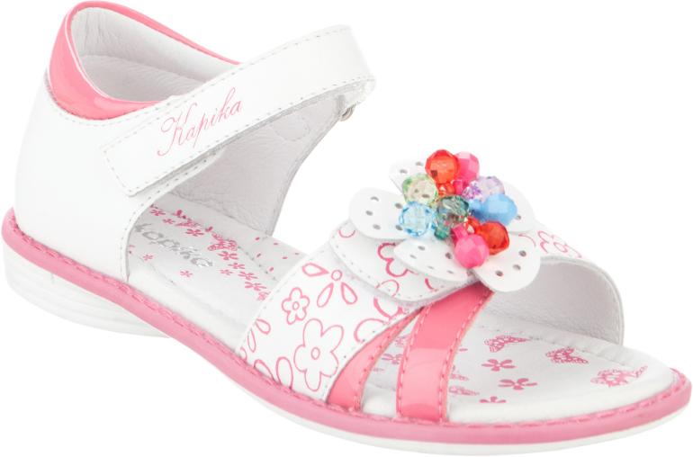 Сандалии для девочки Kapika, цвет: белый, розовый. 33277к-2. Размер 3133277к-2Модные сандалии для девочки от Kapika, выполненные из натуральной и искусственной кожи, оформлены цветочным принтом. Внутренняя поверхность и стелька из натуральной кожи обеспечат комфорт при движении. Ремешки с застежками-липучками надежно зафиксируют модель на ноге. Передний ремешок оформлен декоративным цветком с бусинами. Подошва дополнена рифлением.