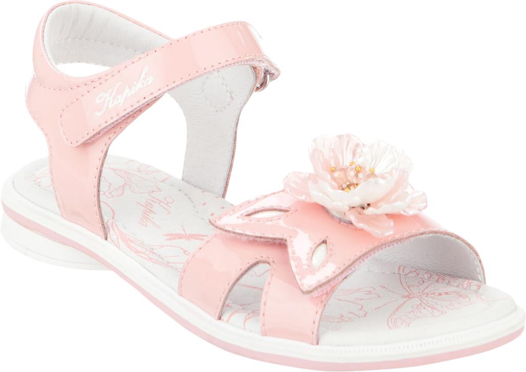 Сандалии для девочки Kapika, цвет: розовый. 33280-2. Размер 3333280-2Модные сандалии для девочки от Kapika выполнены из натуральной лакированной кожи. Внутренняя поверхность и стелька из натуральной кожи обеспечат комфорт при движении. Ремешки с застежками-липучками надежно зафиксируют модель на ноге. Передний ремешок украшен декоративным бантиком. Подошва дополнена рифлением.