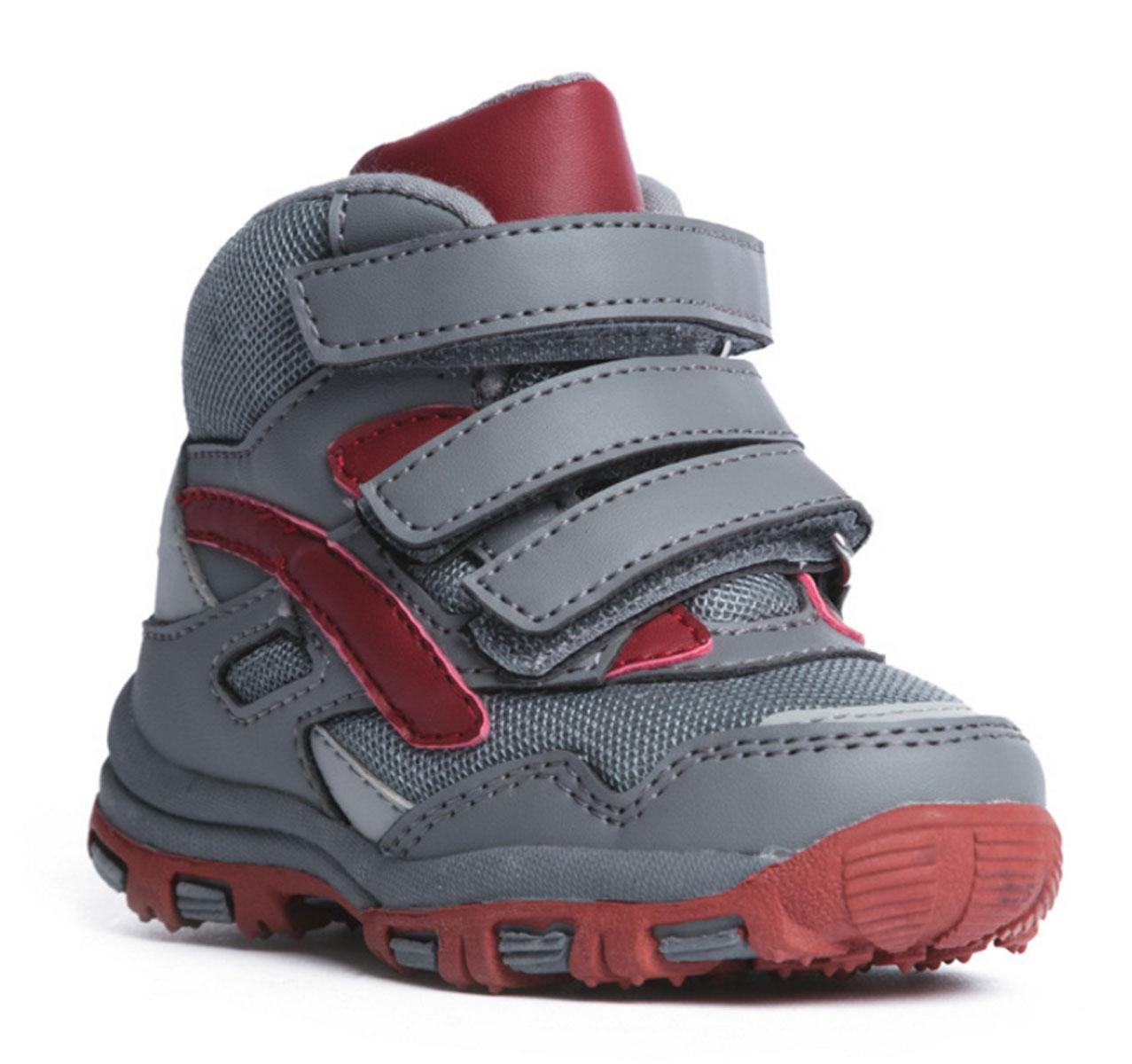 Ботинки для мальчика PlayToday Baby, цвет: серый, темно-красный. 177232. Размер 25177232Комфортные ботинки выполнены из современных материалов. Ортопедическая высокая пятка с мягким кантом по верху. Высокая гибкая подошва с рифлением обеспечивает оптимальный комфорт. Наполненная носочная часть правильно формирует стопу. Застежки на липучках отлично фиксируют модель на ноге.