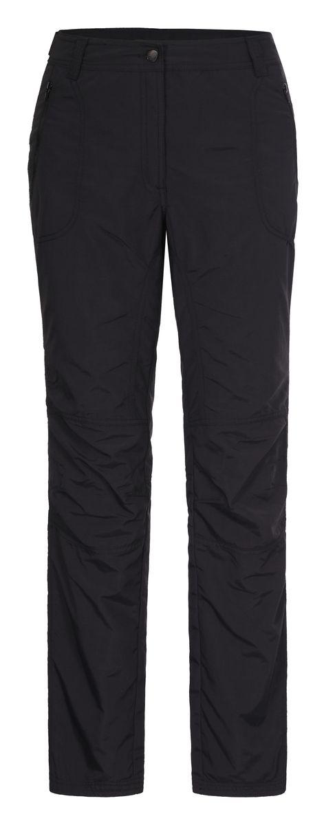 Брюки женские Icepeak, цвет: черный. 754055574IV. Размер 42 (48)754055574IVЖенские брюки от Icepeak повседневного стиля в поясе застегиваются на пуговицу и ширинку на молнии, имеются шлевки для ремня. Модель прямого кроя с карманами, брючины подворачиваются.