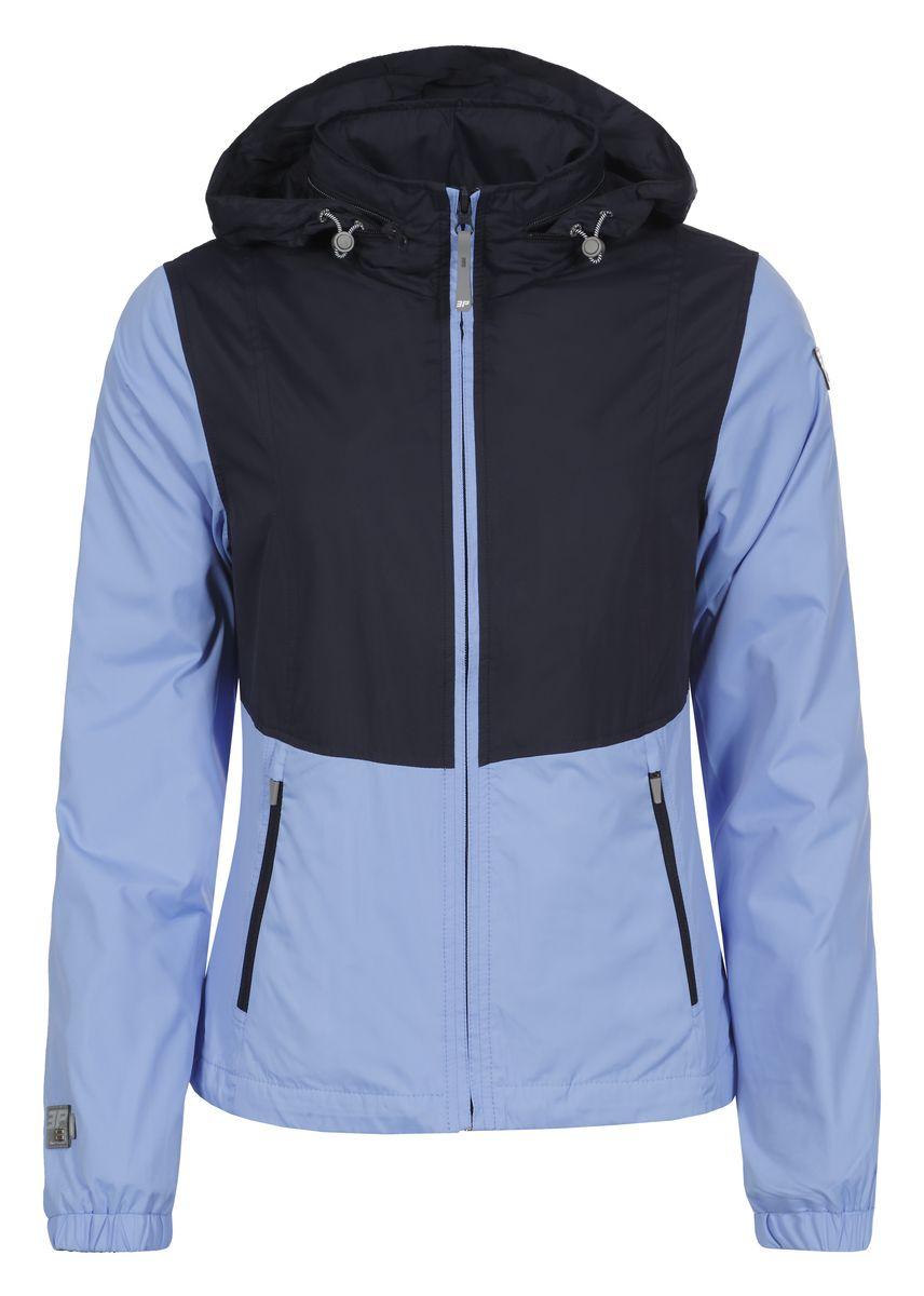 Ветровка женская Icepeak, цвет: голубой, темно-синий. 753005555IV. Размер 38 (44)753005555IVЖенская куртка Icepeak выполнена из качественного полиэстера. Модель с длинными рукавами застегивается на застежку-молнию. Изделие дополнено капюшоном, убирающимся в карман на воротнике и двумя врезными карманами.