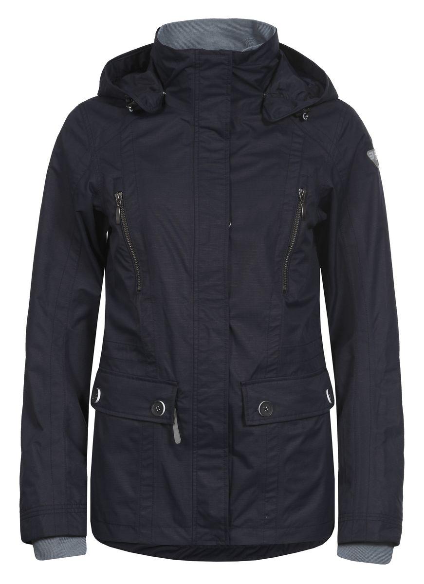 Куртка женская Icepeak, цвет: черно-синий. 753013520IV. Размер 38 (44)753013520IVЖенская куртка Icepeak выполнена из качественного полиэстера. Модель с длинными рукавами застегивается на застежку-молнию. Изделие дополнено съемным капюшоном, манжетами на рукавах и четырьмя внешними карманами.