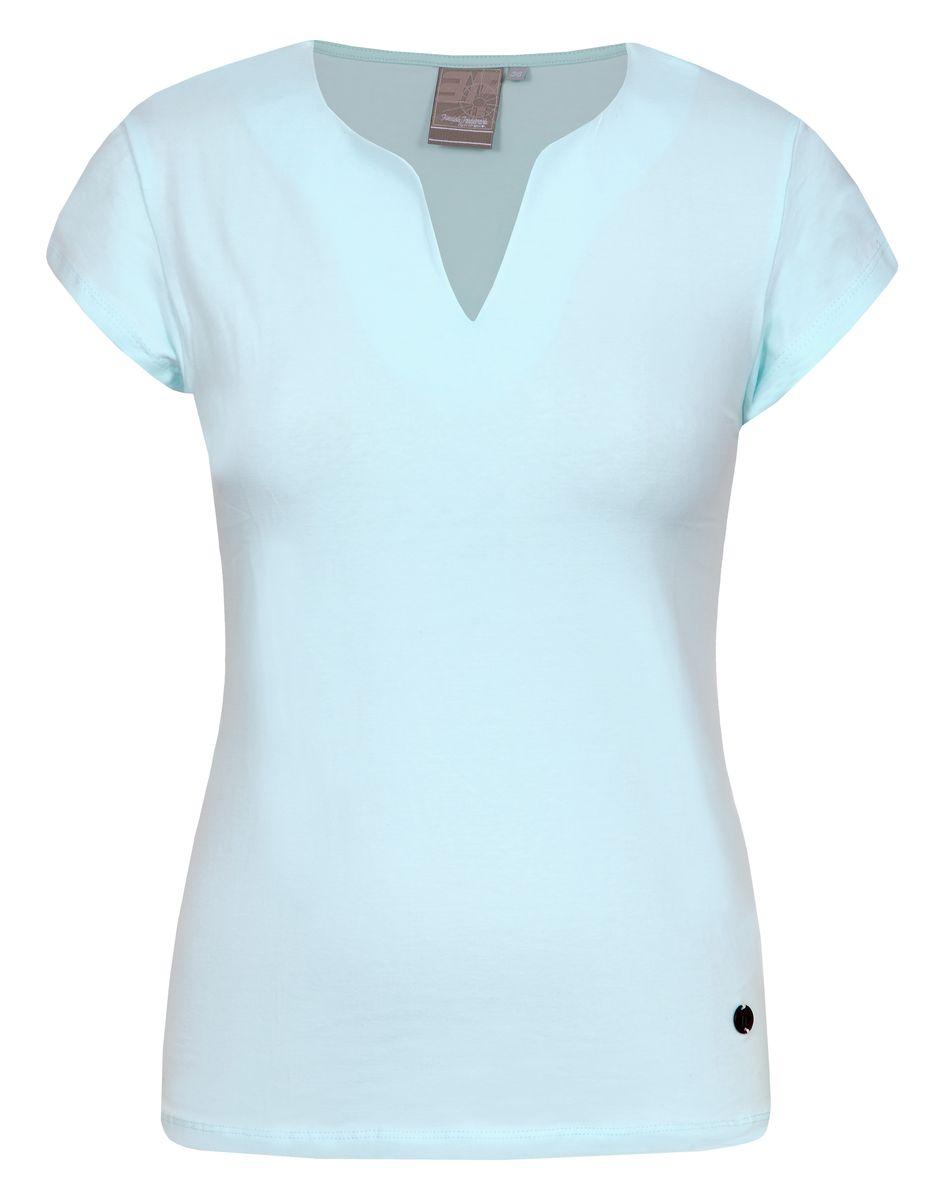 Футболка женская Icepeak, цвет: бирюзовый. 754723591IV. Размер 40 (46)754723591IVСтильная футболка Icepeak изготовлена из натурального хлопка с добавлением эластана. Модель прямого кроя выполнена с V-образной горловиной и короткими рукавами.