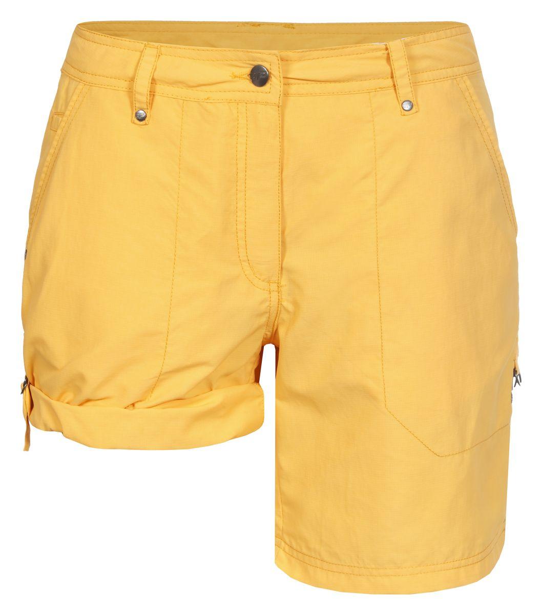 Шорты женские Icepeak Louisa, цвет: желтый. 754530574IV. Размер 38 (44)754530574IVЖенские шорты Louisa от Icepeak, выполненные из высококачественного материала, в поясе застегиваются на пуговицу и ширинку на молнии, имеются шлевки для ремня. Модель с карманами, штанины подворачиваются.