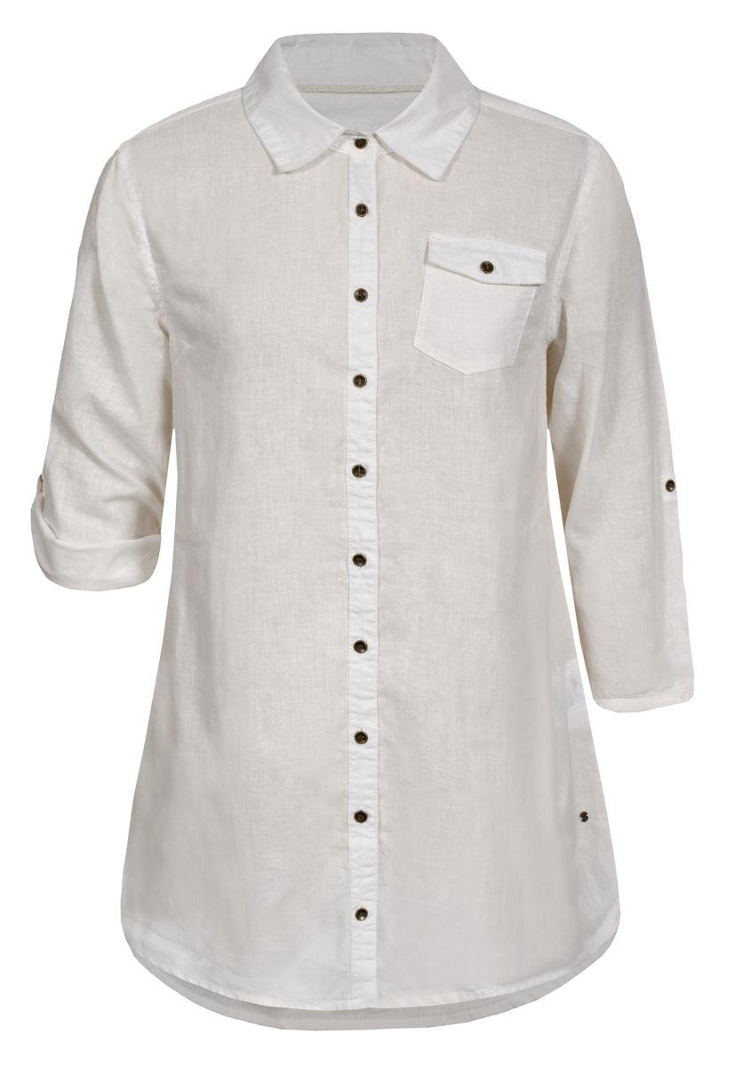 Рубашка женская Luhta, цвет: белый. 737336395LV. Размер 40 (48)737336395LVРубашка женская Luhta выполнена из высококачественного материала. Модель с отложным воротником и рукавами 3/4 застегивается на пуговицы. Рукава можно подвернуть и зафиксировать хлястиками с пуговицами. На груди рубашка дополнена накладным карманом с клапаном.