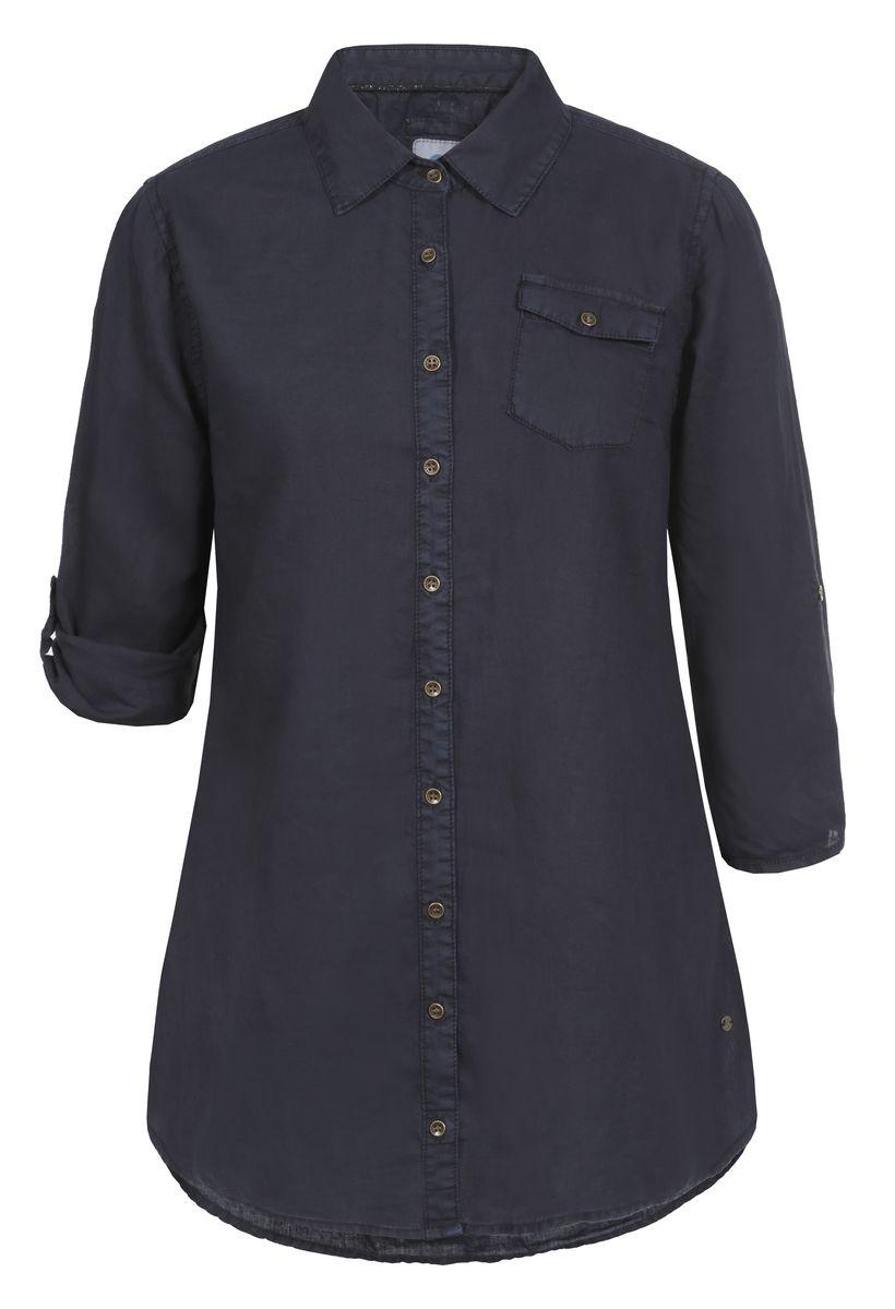 Рубашка женская Luhta, цвет: темно-синий. 737336395LV. Размер 38 (46)737336395LVРубашка женская Luhta выполнена из высококачественного материала. Модель с отложным воротником и рукавами 3/4 застегивается на пуговицы. Рукава можно подвернуть и зафиксировать хлястиками с пуговицами. На груди рубашка дополнена накладным карманом с клапаном.