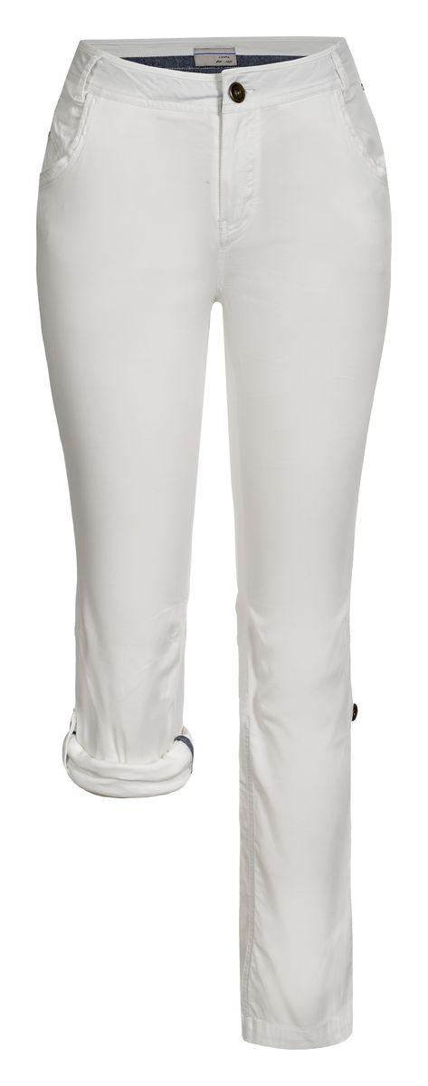 Брюки женские Luhta, цвет: белый. 737733362LV. Размер 40 (48)737733362LVСтильные женские брюки Luhta выполнены из высококачественного материала. Модель стандартной посадки застегивается на пуговицу в поясе и ширинку на застежке-молнии. Пояс имеет шлевки для ремня. Спереди брюки дополнены втачными карманами. Низ брючин можно подвернуть и зафиксировать хлястиками с пуговицами.