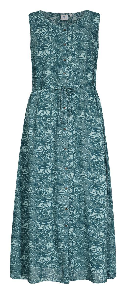 Платье Luhta, цвет: зеленый. 737340333LV. Размер 42 (50)737340333LVЖенское платье Luhta выполнена из высококачественного материала. Удлиненная модель без рукавов и с круглым вырезом горловины застегивается на пуговицы. Талия дополнена затягивающимся шнурком.
