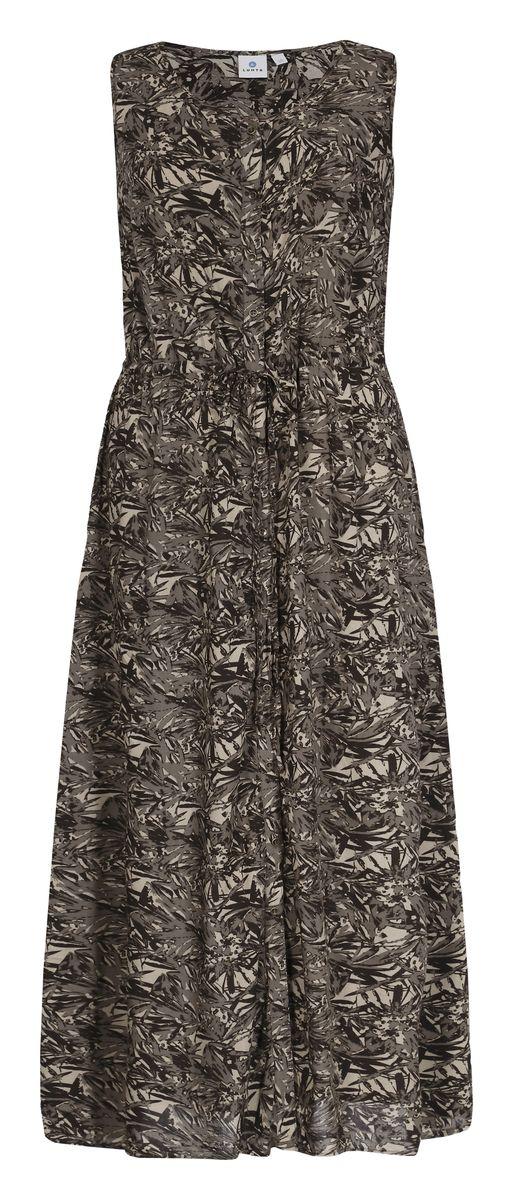 Платье Luhta, цвет: коричневый. 737340333LV. Размер 40 (48)737340333LVЖенское платье Luhta выполнена из высококачественного материала. Удлиненная модель без рукавов и с круглым вырезом горловины застегивается на пуговицы. Талия дополнена затягивающимся шнурком.