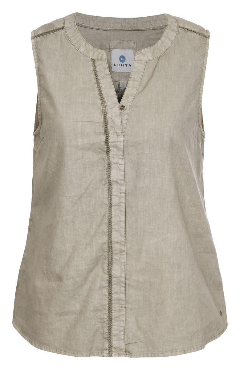 Блузка женская Luhta, цвет: бежевый. 737337395LV. Размер 32 (40)737337395LVБлузка женская Luhta выполнена из высококачественного материала. Модель с V-образным вырезом горловины застегивается сверху на пуговицу.