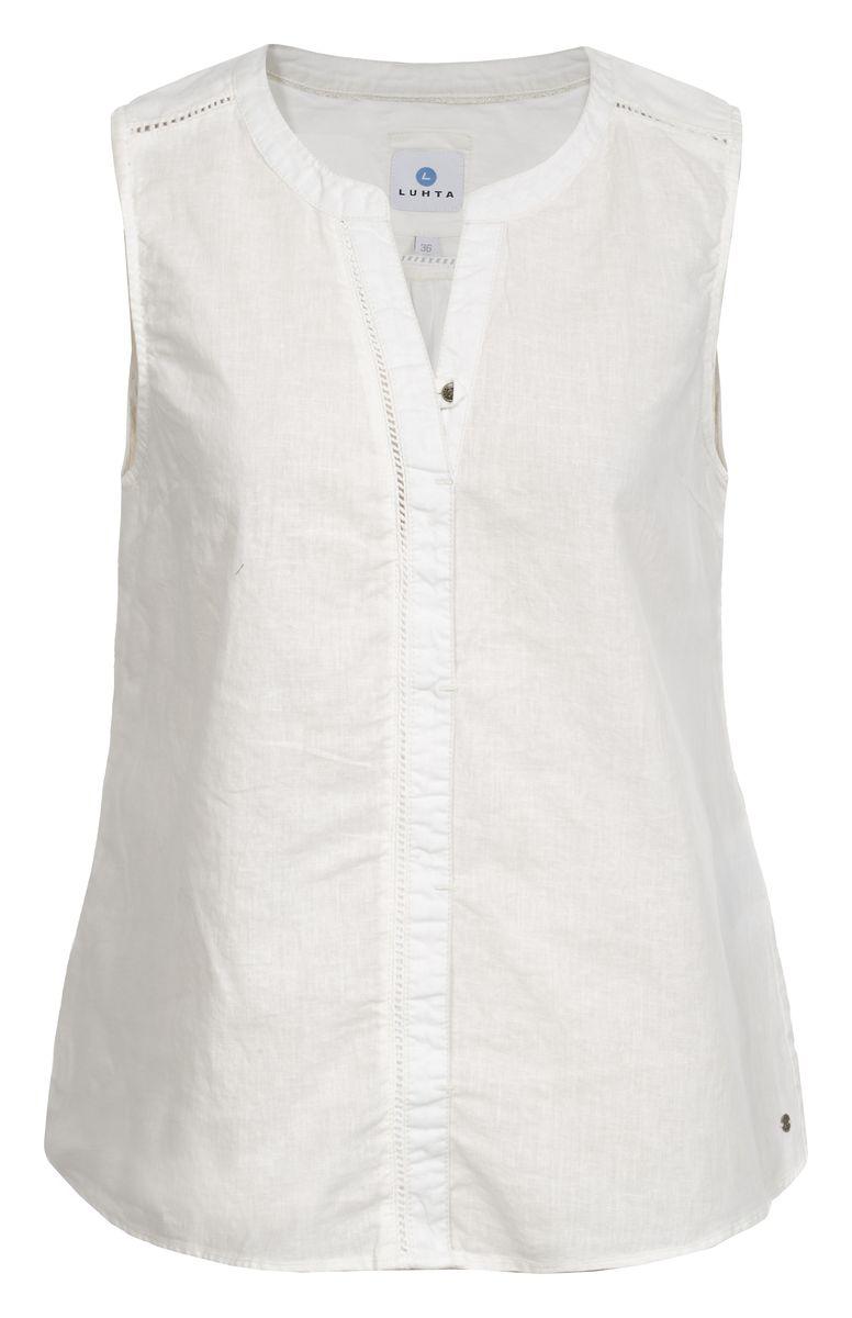 Блузка женская Luhta, цвет: белый. 737337395LV. Размер 36 (44)737337395LVБлузка женская Luhta выполнена из высококачественного материала. Модель с V-образным вырезом горловины застегивается сверху на пуговицу.