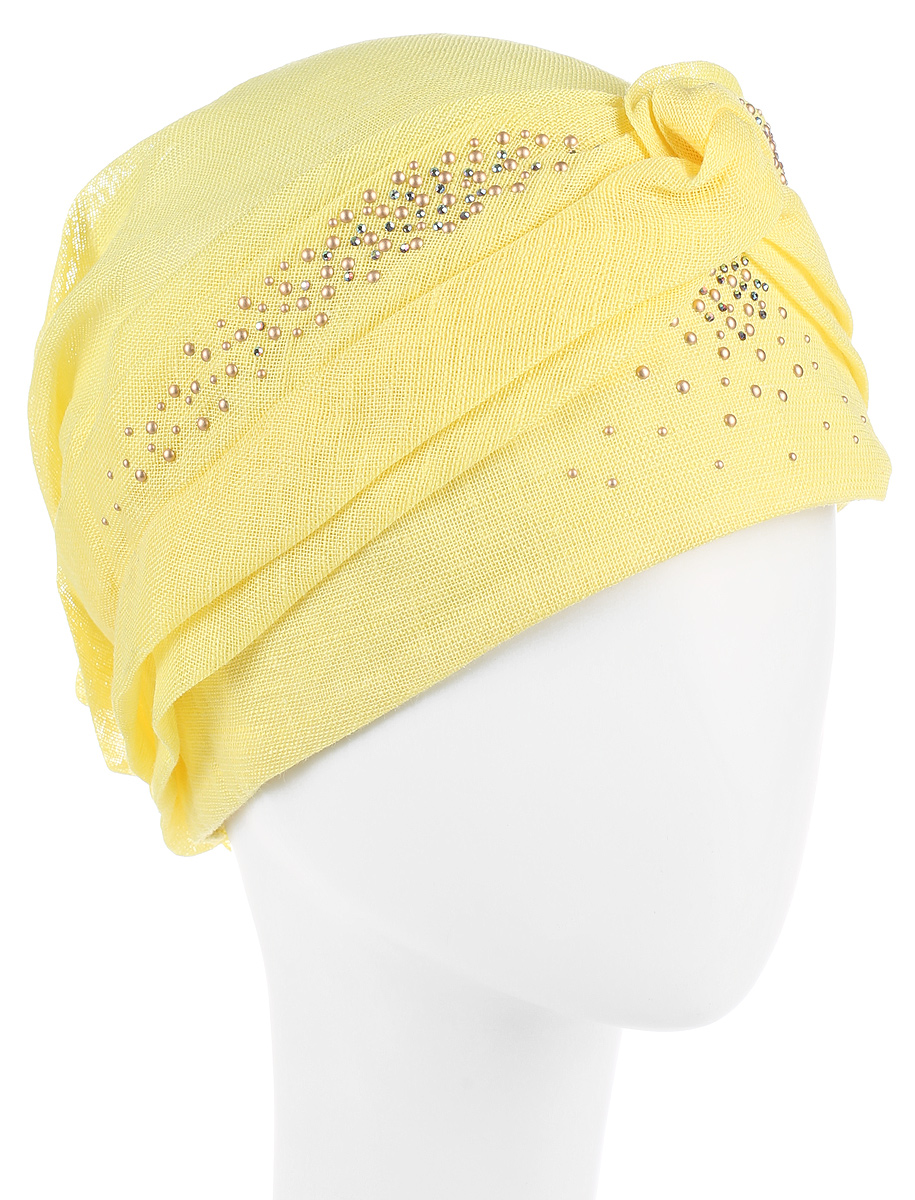 Бандана женская Level Pro, цвет: желтый. 392413. Размер 56/58392413Бандана женская Level Pro изготовлена из качественного натурального льна. Ткань сзади собрана на внутреннюю резинку. Бандана декорирована металлическими стразами. Размер, доступный для заказа, является обхватом головы.