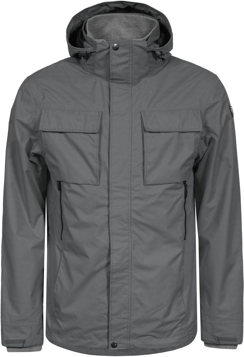 Куртка мужская Icepeak, цвет: серый. 756013520IV_575. Размер M (50)756013520IV_575Мужская куртка с подкладкой Icepeak выполнена из качественного полиэстера. Модель с длинными рукавами застегивается на застежку-молнию и планку с кнопками. Изделие дополнено капюшоном и шестью внешними карманами. Манжеты рукавов и внутренняя часть воротника-стойки оформлены эластичными трикотажными вставками.