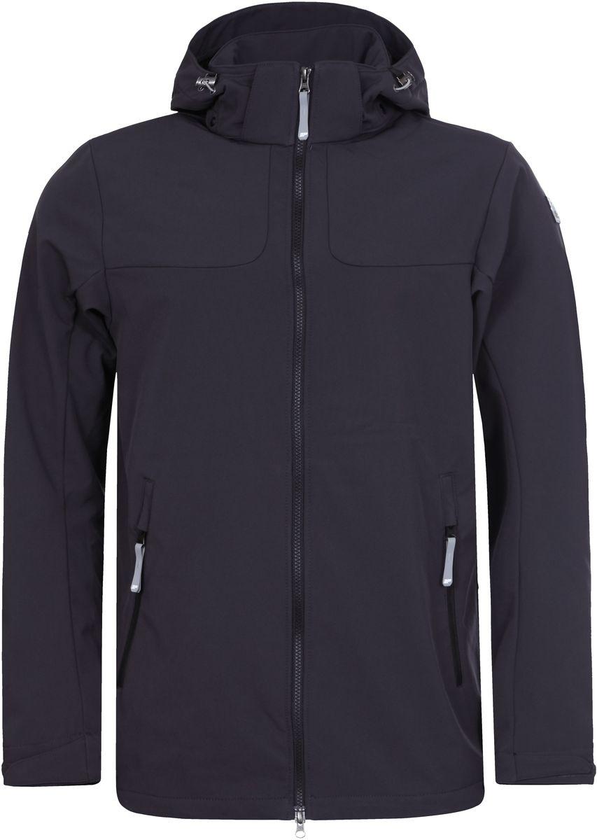 Куртка мужская Icepeak Leo, цвет: темно-серый. 757850682IVT_290. Размер L (52)757850682IVT_290Куртка мужская Leo от Icepeak на микрофлисе выполнена из многофункциональной, эластичной, легкой, дышащей, водо- и ветронепроницаемой ткани с мембраной 3000мм/3000г/м2/24ч. Модель имеет регулирующийся капюшон, застежку на молнии, регулирующиеся манжеты и два боковых кармана на молнии.