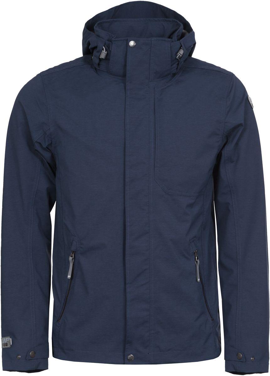 Куртка мужская Icepeak, цвет: синий. 756008507IV_345. Размер 46756008507IV_345Мужская куртка от Icepeak выполнена из легкой ветрозащитной ткани. Модель с длинными рукавами застегивается на молнию и ветрозащитный клапан, имеются два боковых кармана на молнии, отстегивающийся капюшон.