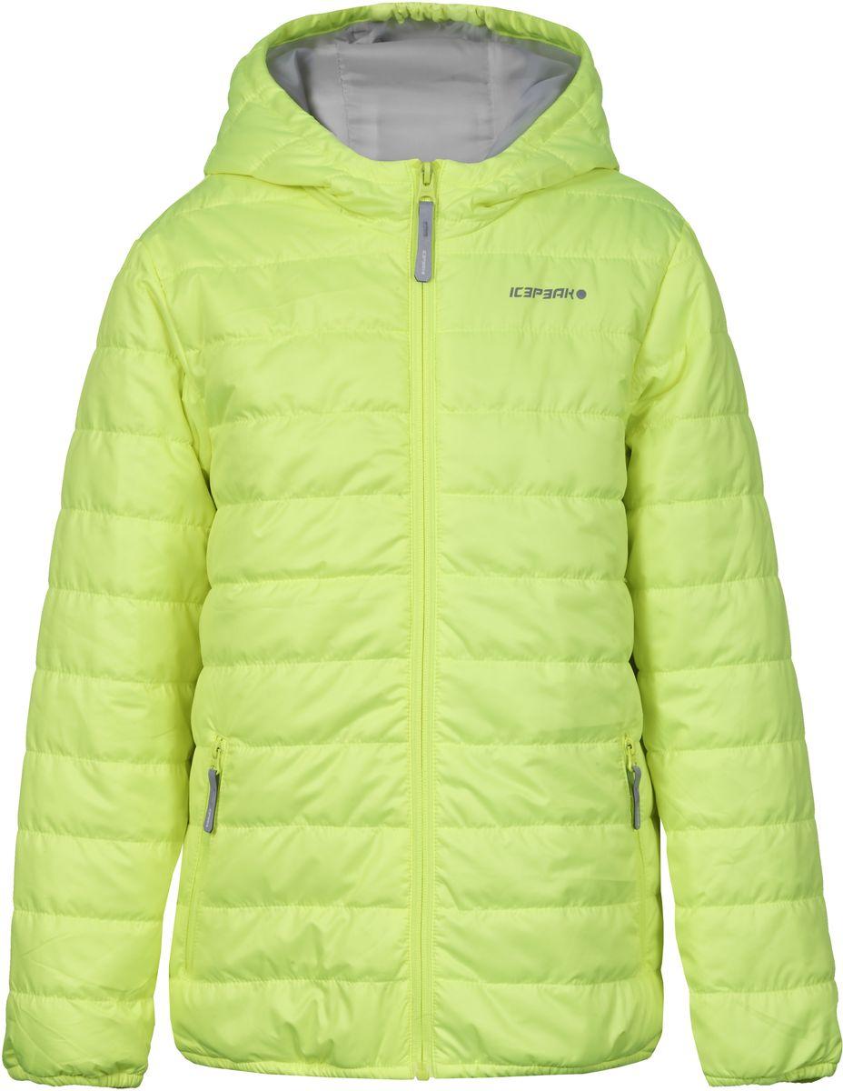Куртка для девочки Icepeak, цвет: ярко-салатовый. 750018504IV_881. Размер 128750018504IV_881Куртка для девочки Icepeak выполнена из качественного полиэстера. Модель с капюшоном и длинными рукавами застегивается на застежку-молнию. Изделие дополнено двумя врезными карманами на молниях.