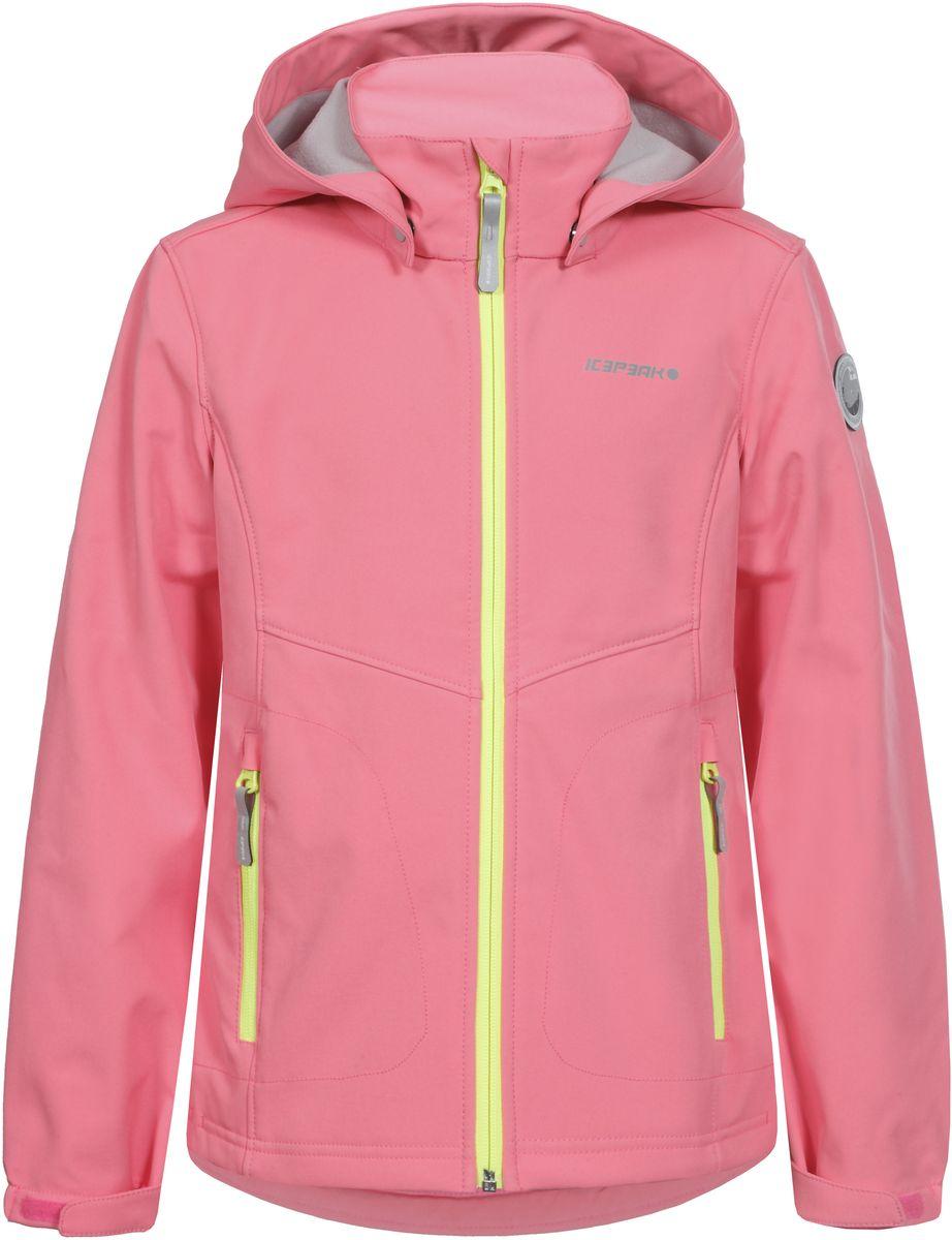 Куртка для девочки Icepeak, цвет: розовый. 751808682IVT_887. Размер 140751808682IVT_887Куртка для девочки Icepeak выполнена из качественного полиэстера. Модель со съемным капюшоном и длинными рукавами застегивается на молнию. Изделие дополнено двумя врезными карманами на молниях.