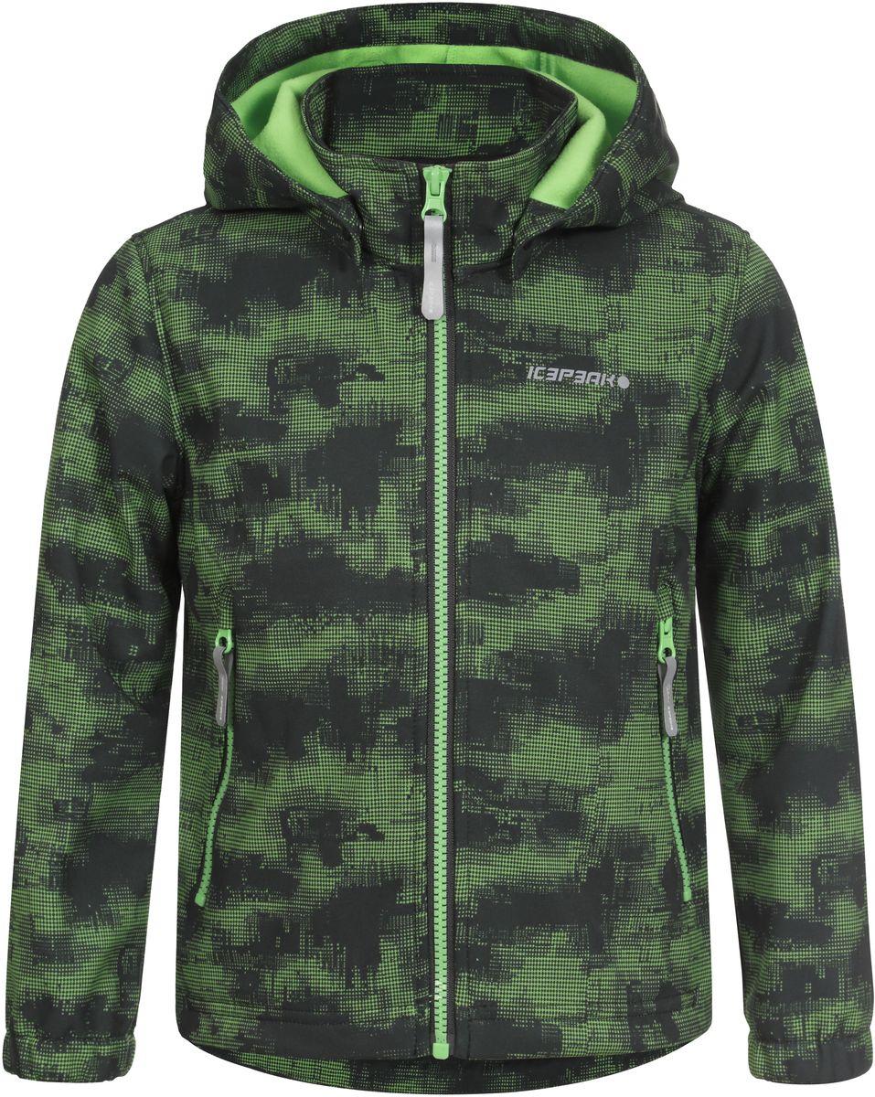 Куртка для мальчика Icepeak, цвет: зеленый, серый. 751816656IVT_882. Размер 122751816656IVT_882Куртка для мальчика Icepeak выполнена из качественного полиэстера. Модель со съемным капюшоном и длинными рукавами застегивается на молнию. Изделие дополнено двумя врезными карманами на молниях.