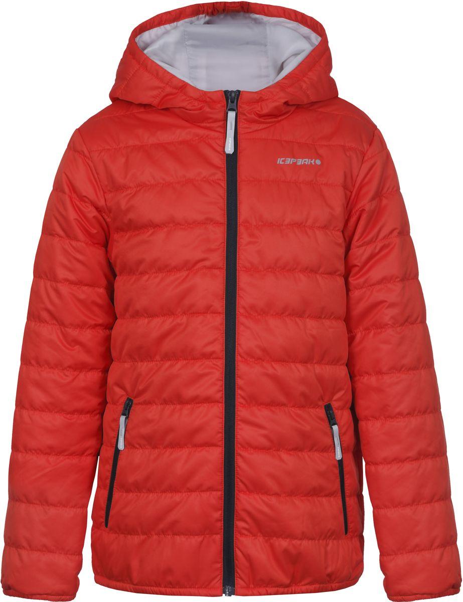 Куртка для мальчика Icepeak, цвет: оранжевый. 750018504IV_640. Размер 140750018504IV_640Куртка для мальчика Icepeak выполнена из качественного материала. Модель с капюшоном и длинными рукавами застегивается на застежку-молнию. Изделие дополнено двумя врезными карманами на молниях.