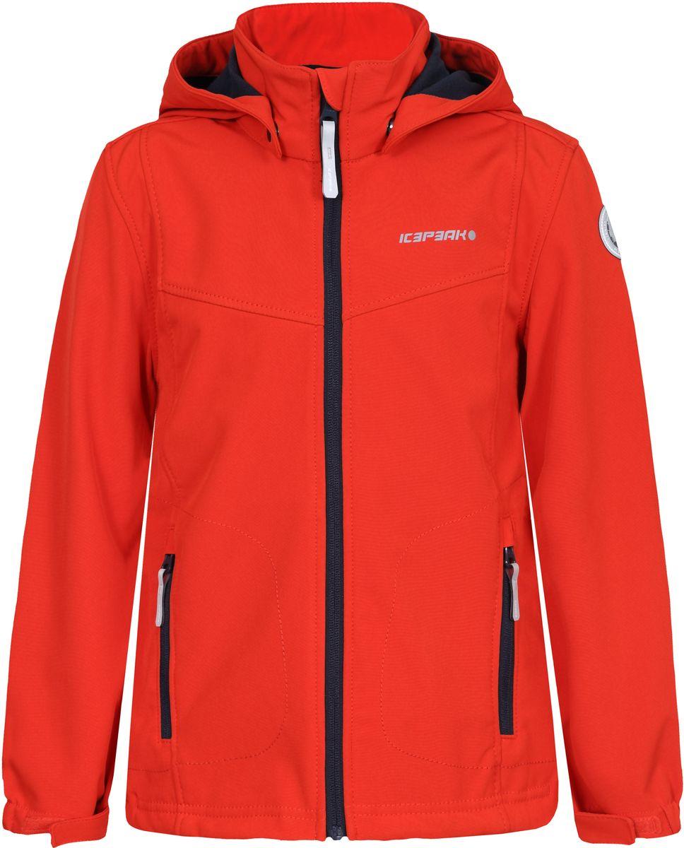 Куртка для мальчика Icepeak, цвет: оранжевый. 751809682IVT_640. Размер 128751809682IVT_640Куртка для мальчика Icepeak выполнена из качественного материала. Модель с длинными рукавами застегивается на застежку-молнию. Изделие дополнено съемным капюшоном и двумя врезными карманами на молниях.