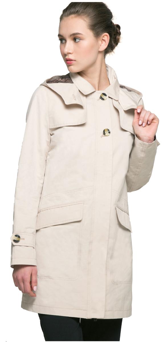 Плащ женский Grishko, цвет: бежевый. AL-3126. Размер L (48)AL-3126Удлиненная куртка-плащ с капюшоном Grishko актуального женственного прямого силуэта выполнена из плотного материала с хлопковым эффектом и гладкой подкладкой. Модель с застежкой-молнией, скрытой декоративной планкой на пуговицах. Планками закрыты и удобные карманы. Эта универсальная модель - незаменимая вещь для городских будней и активных выходных за городом.