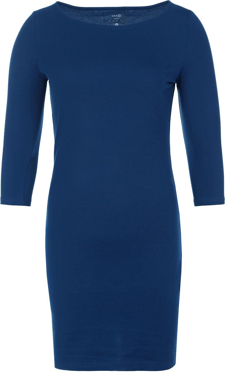 Платье oodji Ultra, цвет: темно-бирюзовый. 14001071-2B/46148/7901N. Размер XS (42)14001071-2B/46148/7901NСтильное платье oodji, выполненное из хлопка с добавлением эластана, отлично дополнит ваш гардероб. Модель длины мини с круглым вырезом горловины и рукавами 3/4.